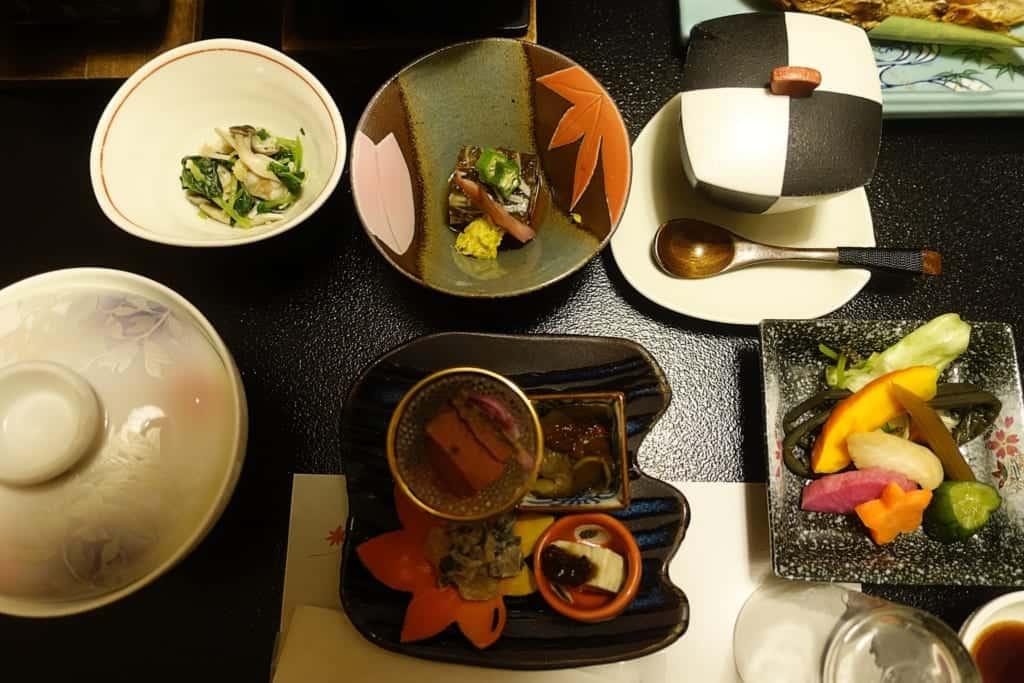 Traditional Japanese kaiseki cuisine served in the ryokan Yunoyado Motoyu club