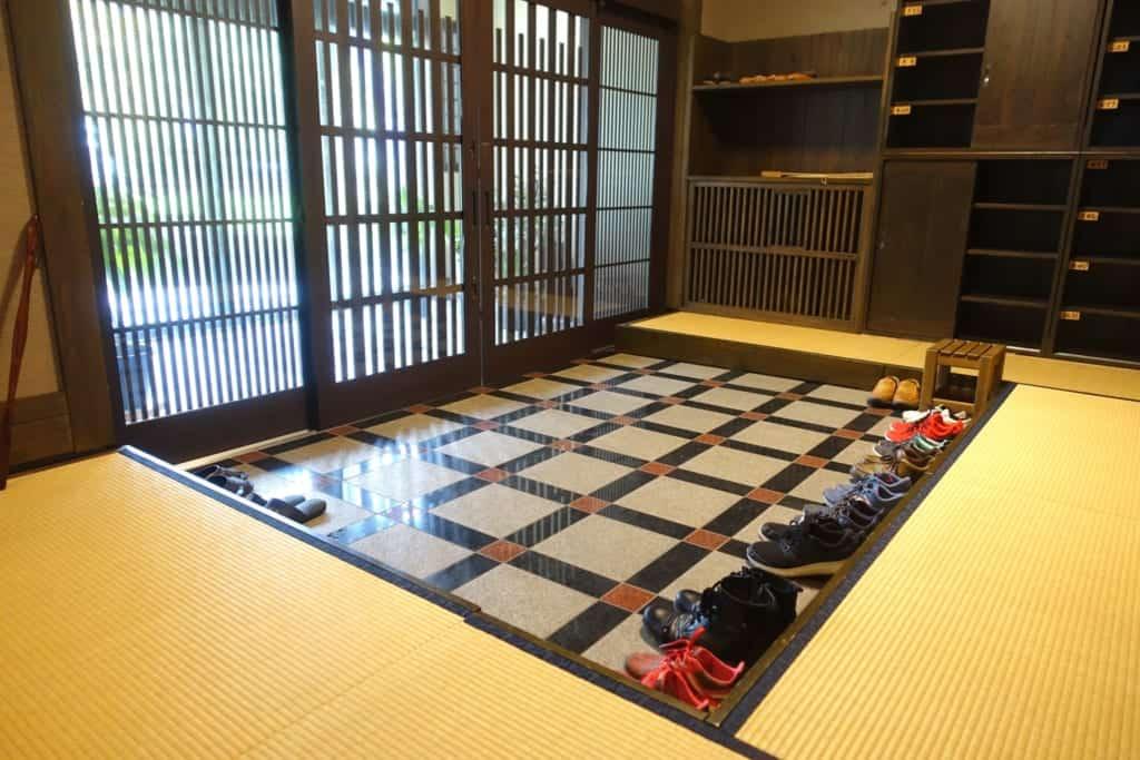 Entrance hall of the ryokan Yunoyado Motoyu club where you can take off your shoes