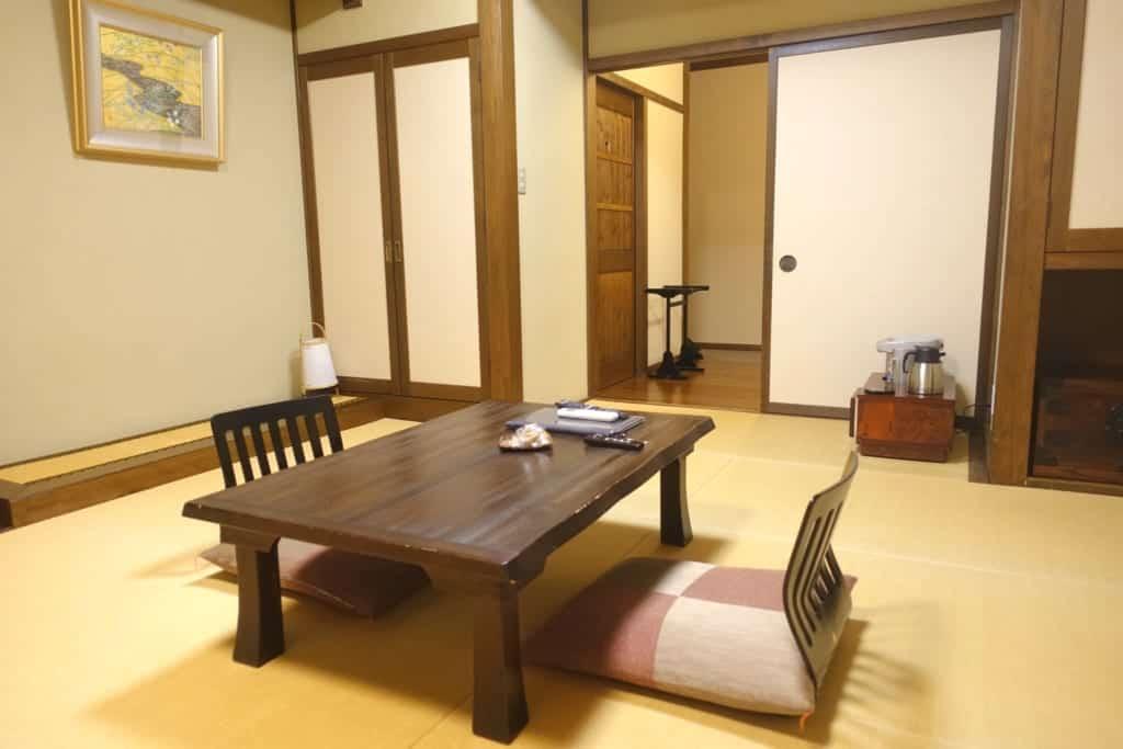 The ryokan Yunoyado Motoyu club lounge, traditional Japanese inn in Yuzawa