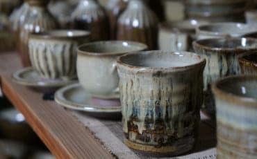 Shodai Yaki pottery mugs made by Mr Yamaguchi