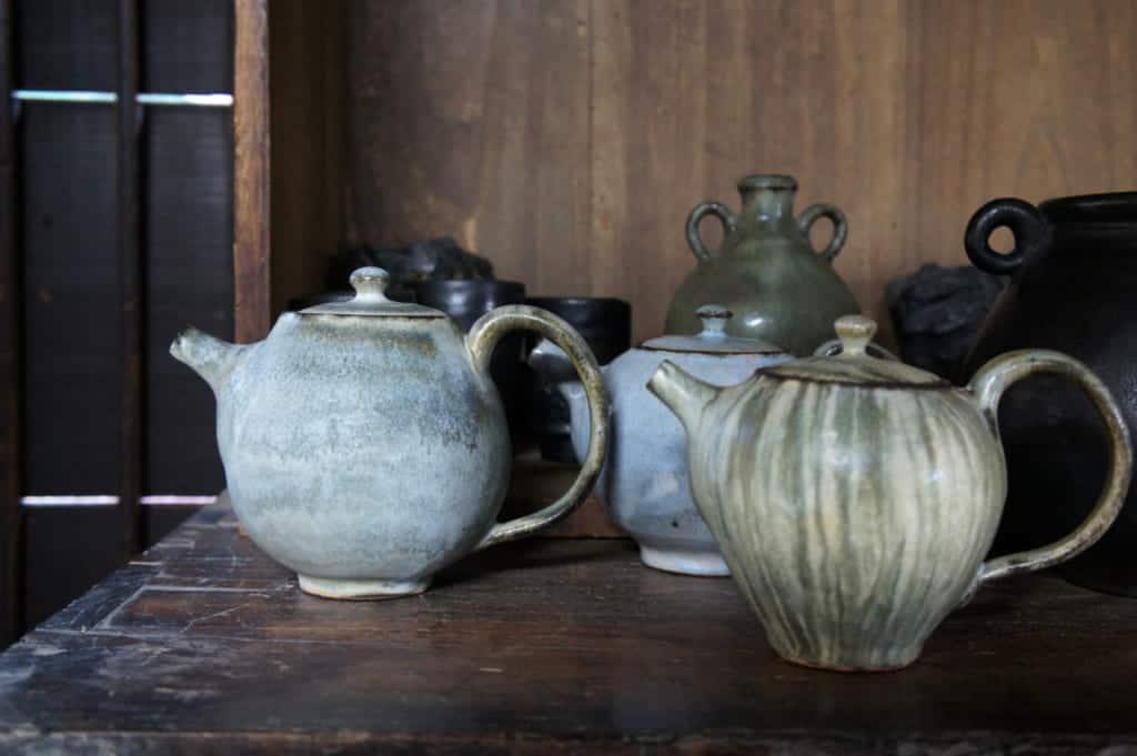 Tea pots in a modern Shodai Yaki style