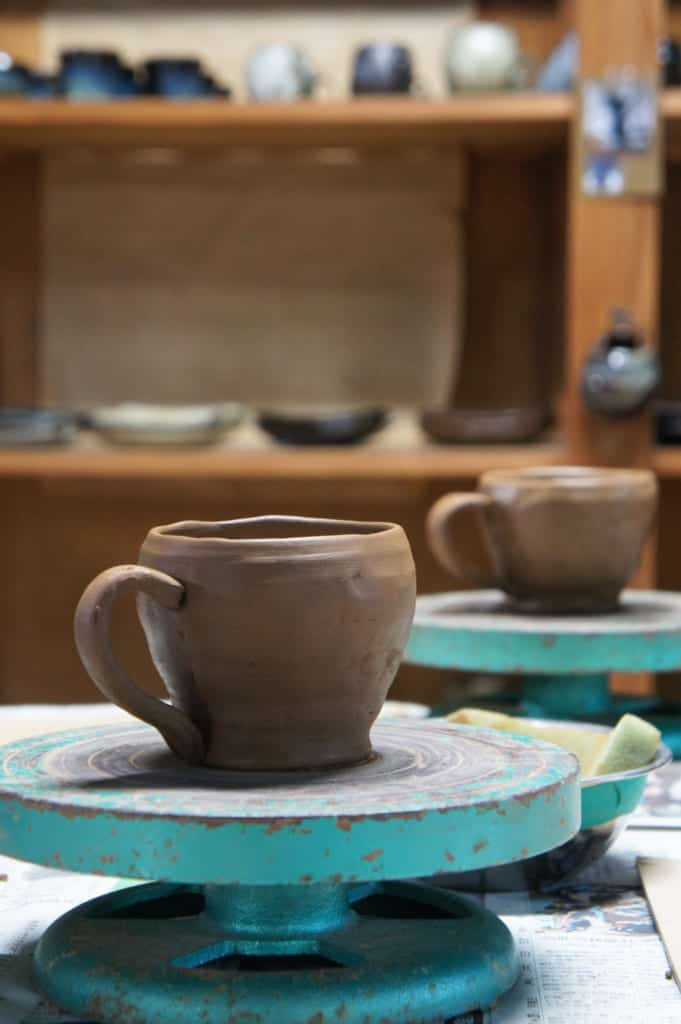 Mug realised during a workshop of Shodai Yaki pottery at Issakigama