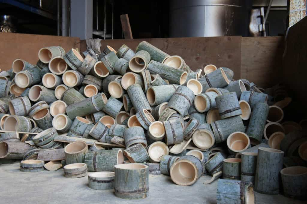 Bamboo scraps, ready to be burned to produce energy