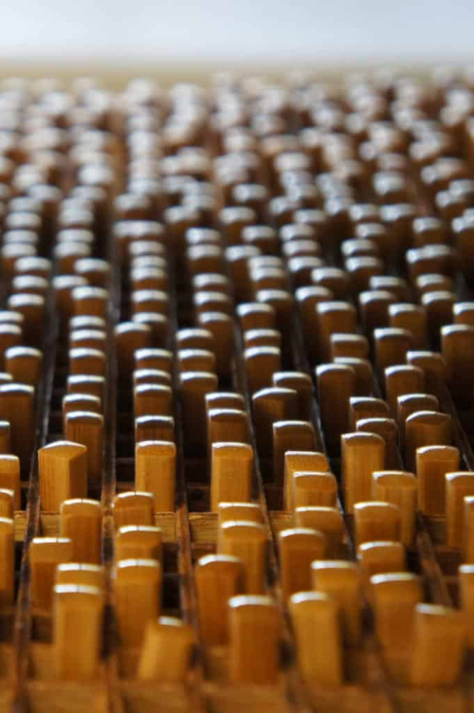 Bamboo chopsticks freshly coated, drying