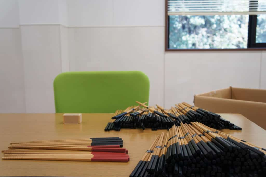 Bamboo chopsticks, ready to be packed in Yamachiku's workshop