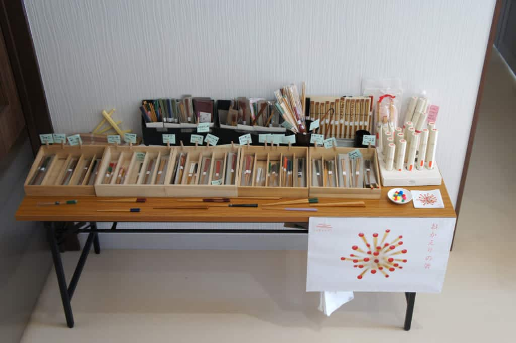 Sales stand in Yamachiku factory's hall