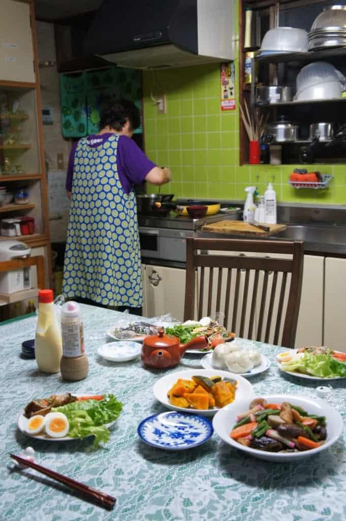 Mrs Yonemura, busy in her kitchen