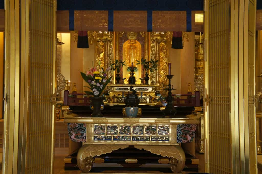 The altar, inside the Zenriyuji temple in Kikuchi