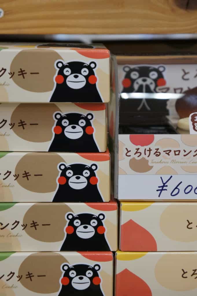 Cookies boxes adorned with the picture of Kumamon