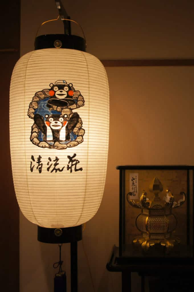 Lantern adorned with a picture of Kumamon