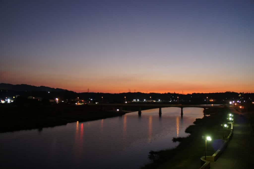 Kikuchigawa river in Yamaga Onsen at down
