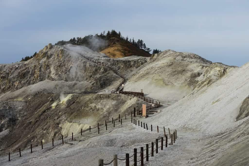 The white and arid lands of jigoku kawarage in Akita prefecture