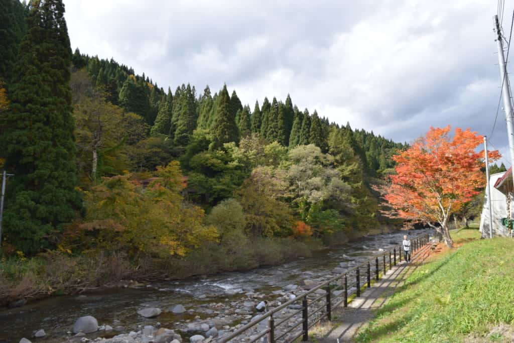 River in the middle of the mountains of the Yuzawa region