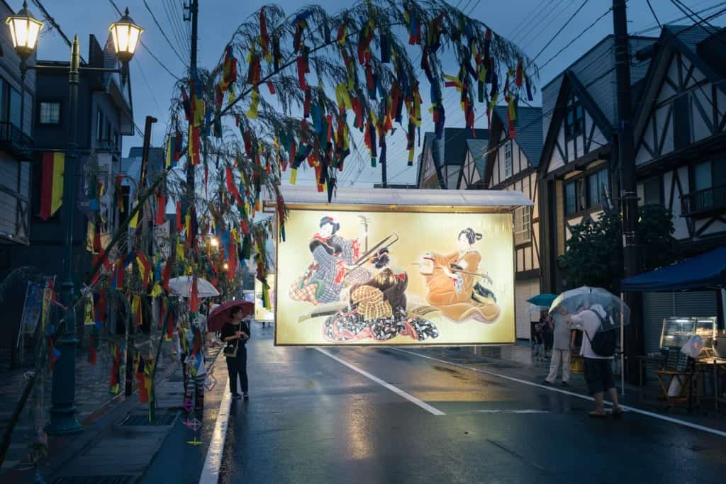 Large hand-painted lantern in the streets of Yuzawa during the Tanabata festival