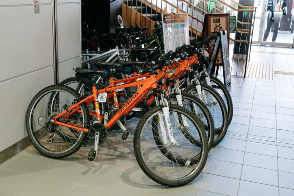 Bikes for rent at Iiyama Station
