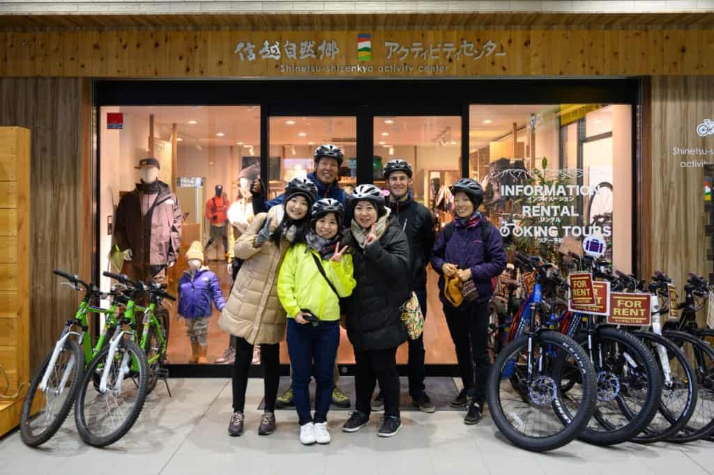 Group photo of cycling tour group