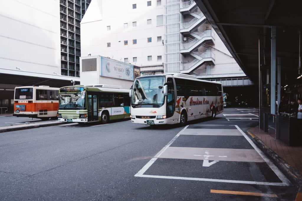 Buses leaving the Hiroshima Bus Terminal
