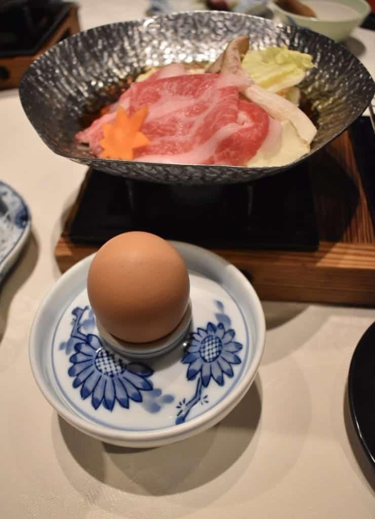Saga beef stew with seasonal vegetables and fresh egg