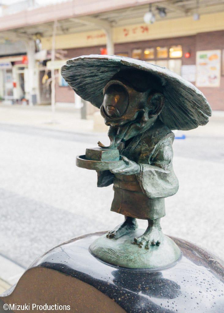 Bronze sculpture on Mizuki Shigeru Road in Sakaiminato.