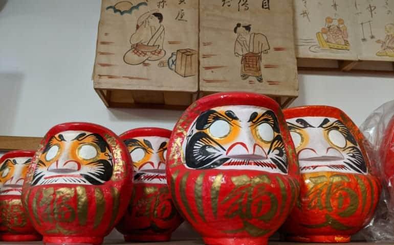 Daruma Dolls in Chochin Lantern and Figurine Shop