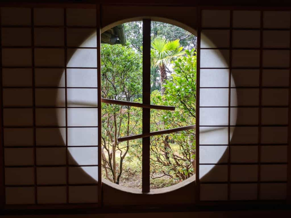 Shoji Screen and Window Overlooking a Japanese Garden at Tojo-tei