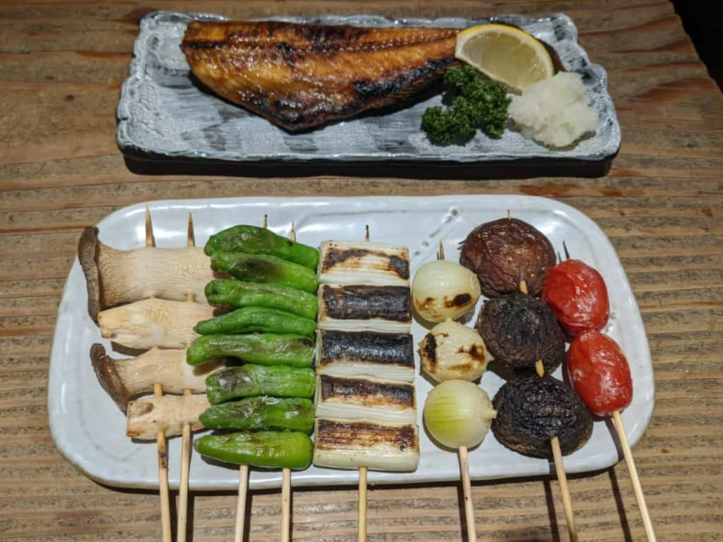 Grilled Vegetables and Fish at a Japanese Izakaya