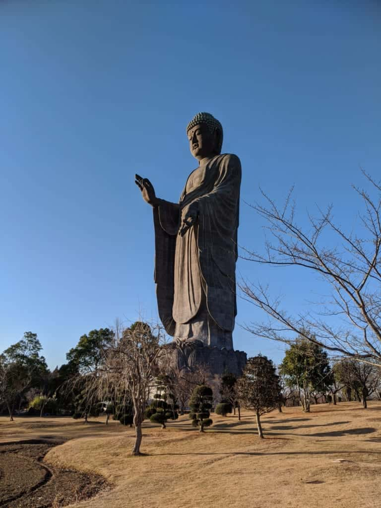 A Giant Buddha Statue from a Distance in Ibaraki