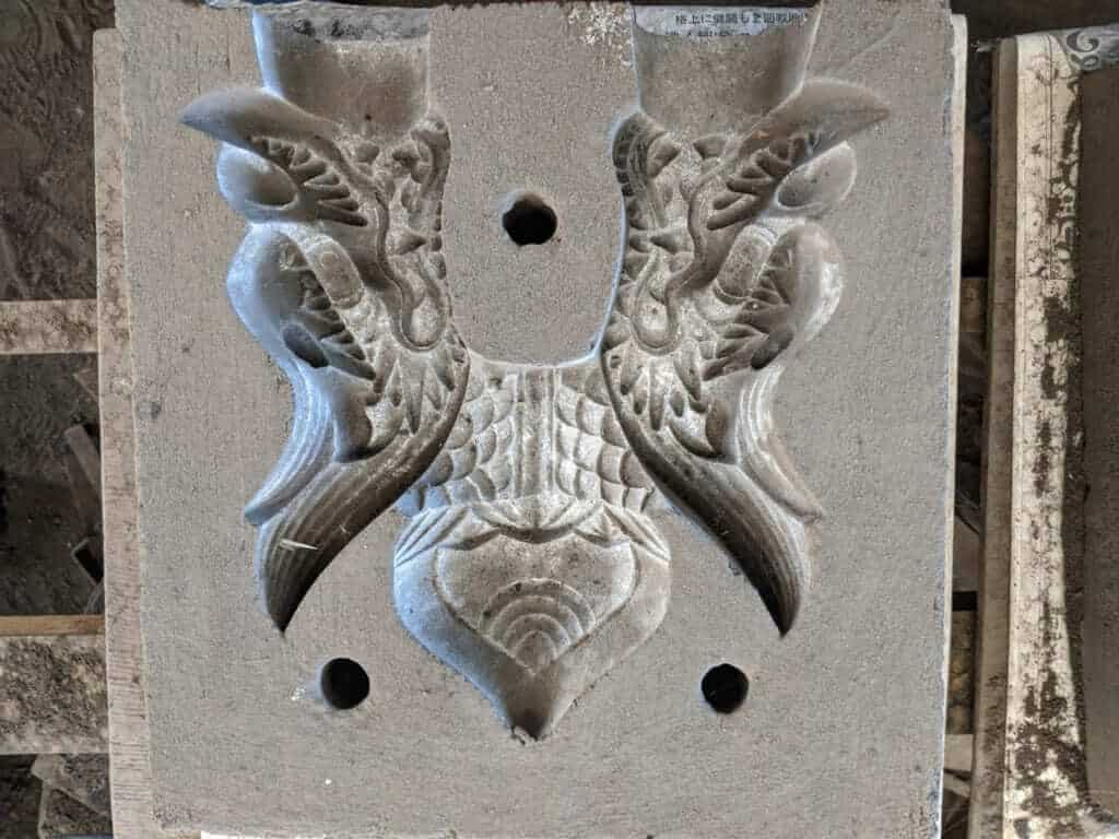 A Mold for a Draong's Head on a Bell at Kotabe Foundry
