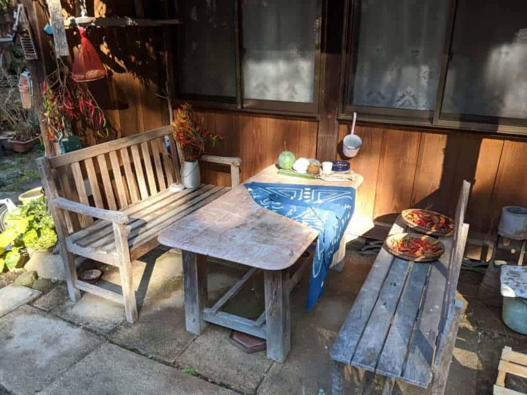An Outdoor Table Area at Gosho Komagataki Shrine