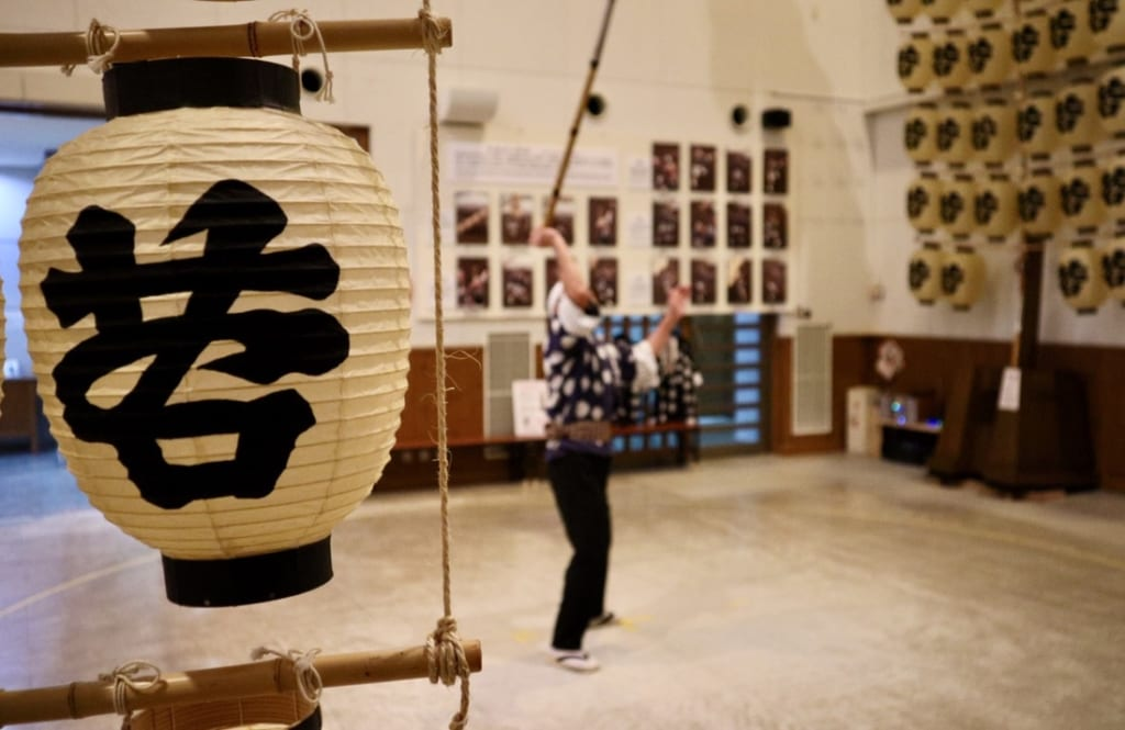Balancing poles in Akita Kanto Centre