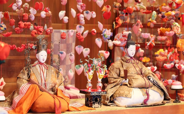 Close up on a pair of Hina Dolls representing the Japanese imperial couple