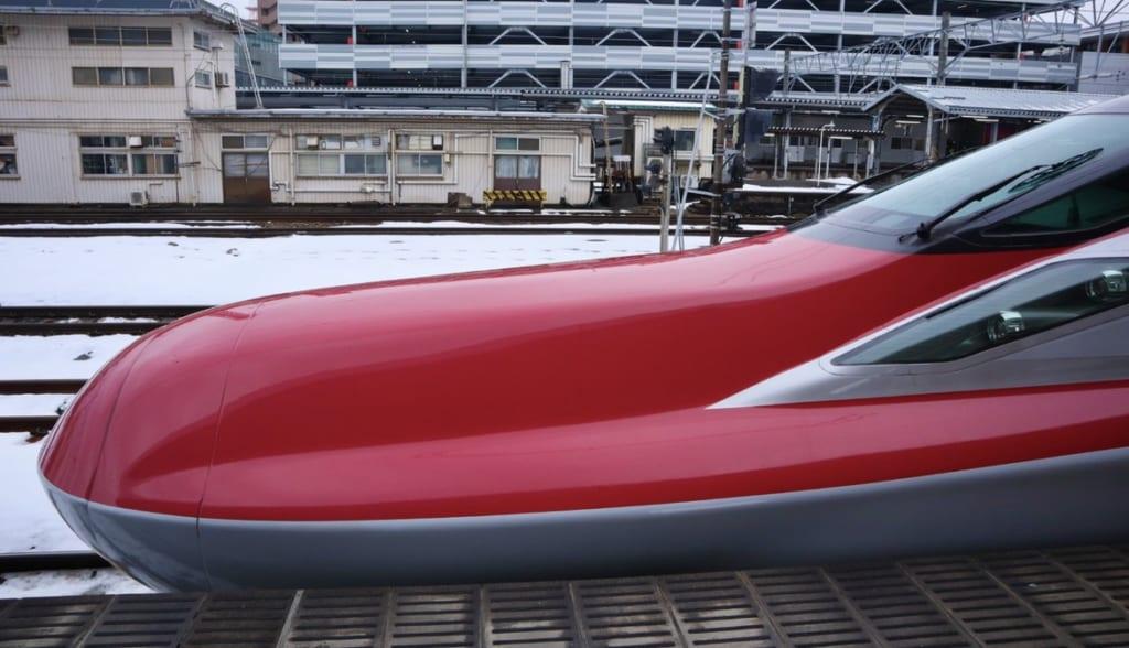 The front of the Shinkansen at Akita Station