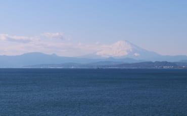 The foggy Mount Fuji in Enoshima, Fujisawa, Kanagawa, Japan