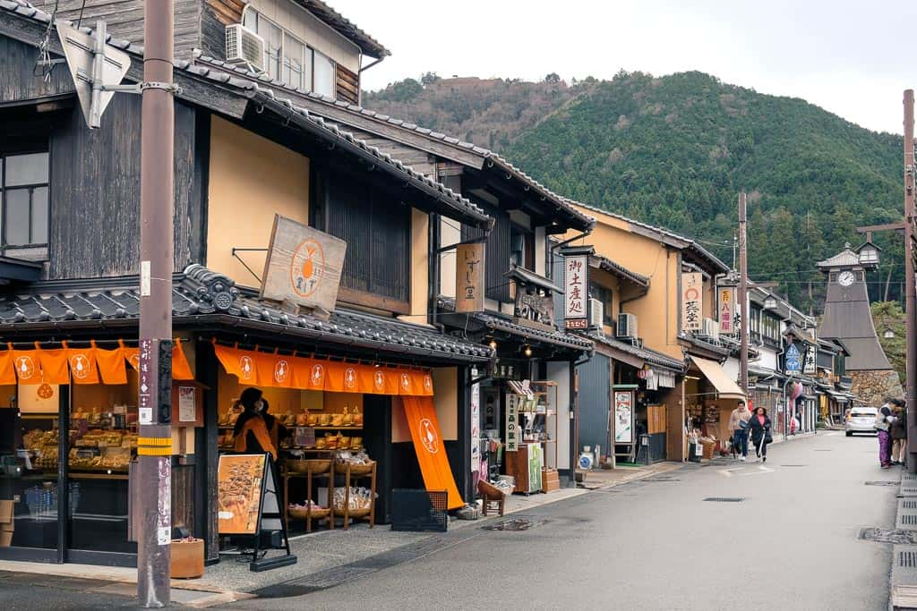 Japanese street markets and stores on shopping street at Izushi Castle Town, Japan