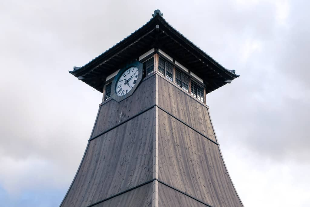Traditional Japanese Shinkoro Clock Tower (辰鼓櫓) in Izushi Castle Town, Japan