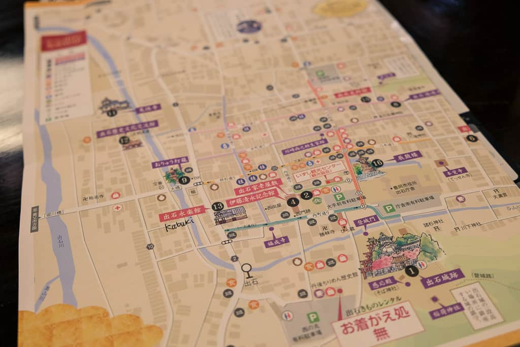 Soba buckwheat noodle eating tour and map for Izushi Castle Town, Hyogo