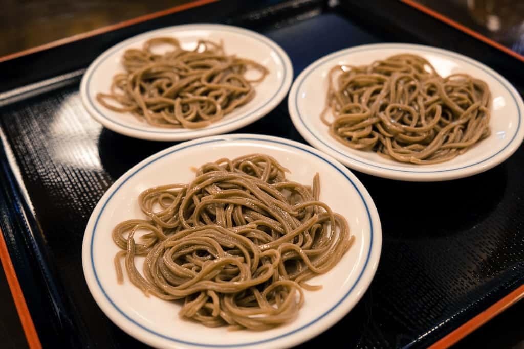 Dark Japanese soba noodles in Izushi Castle town in Hyogo, Japan