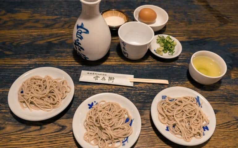 Soba Buckwheat noodle set menu in Izushi Castle town in Hyogo