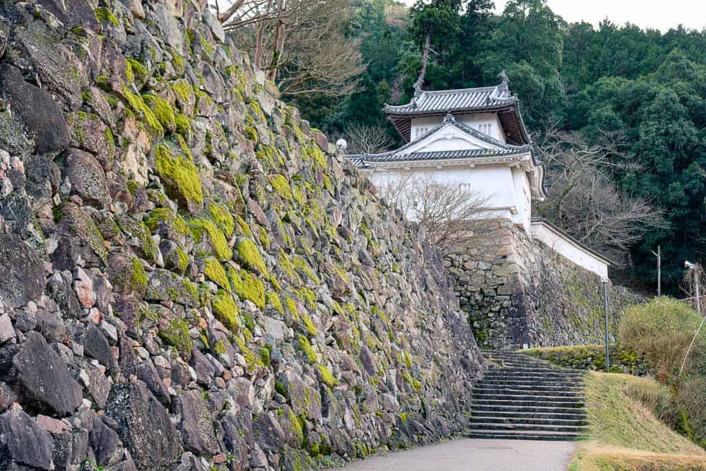 Japanese Stone wall at Izushi Castle ruins in Hyogo, Japan
