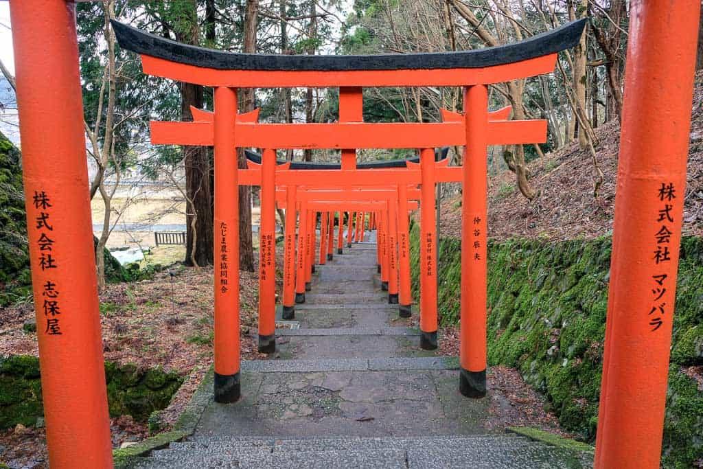 Japanese Torii gates at Izushi Castle ruins in Hyogo, Japan