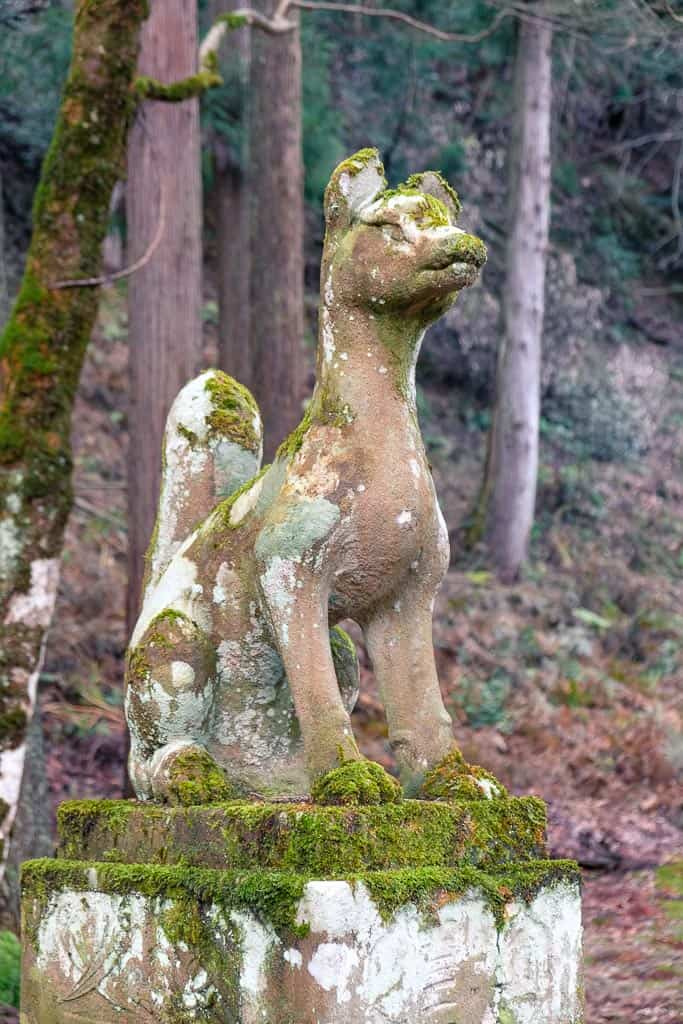 Fox statue at Izushi Castle ruins in Hyogo
