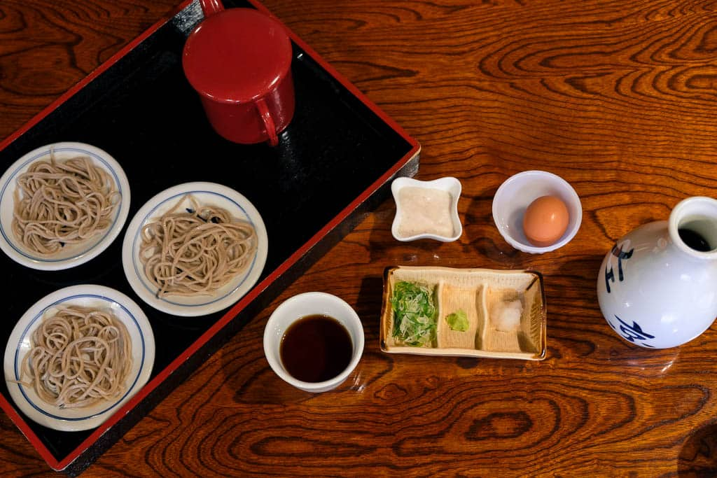 traditional Japanese Soba Buckwheat noodles in Izushi Castle town in Hyogo, Japan