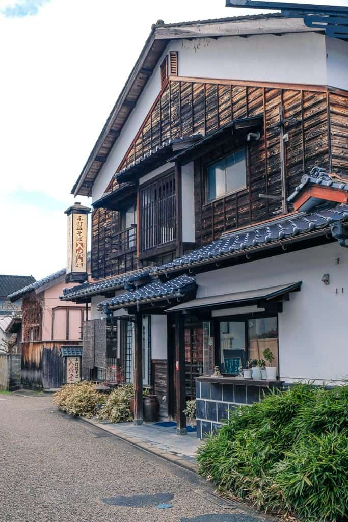 Traditional Japanese Soba Buckwheat noodle restaurant in Izushi Castle town in Hyogo, Japan