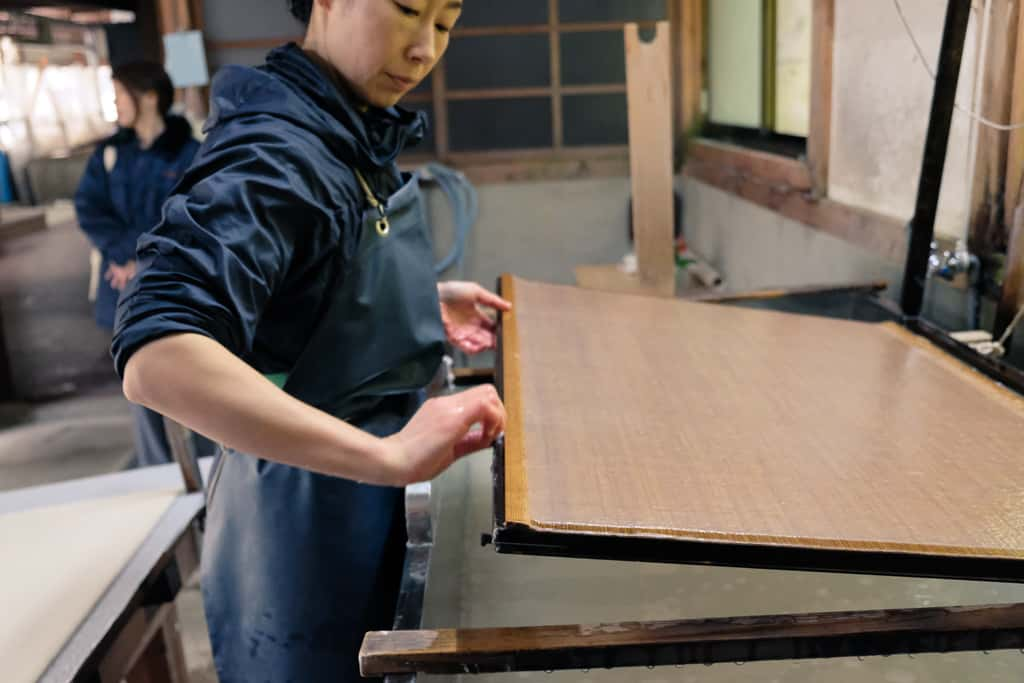 Making Kurotani washi paper in Kyoto Prefecture