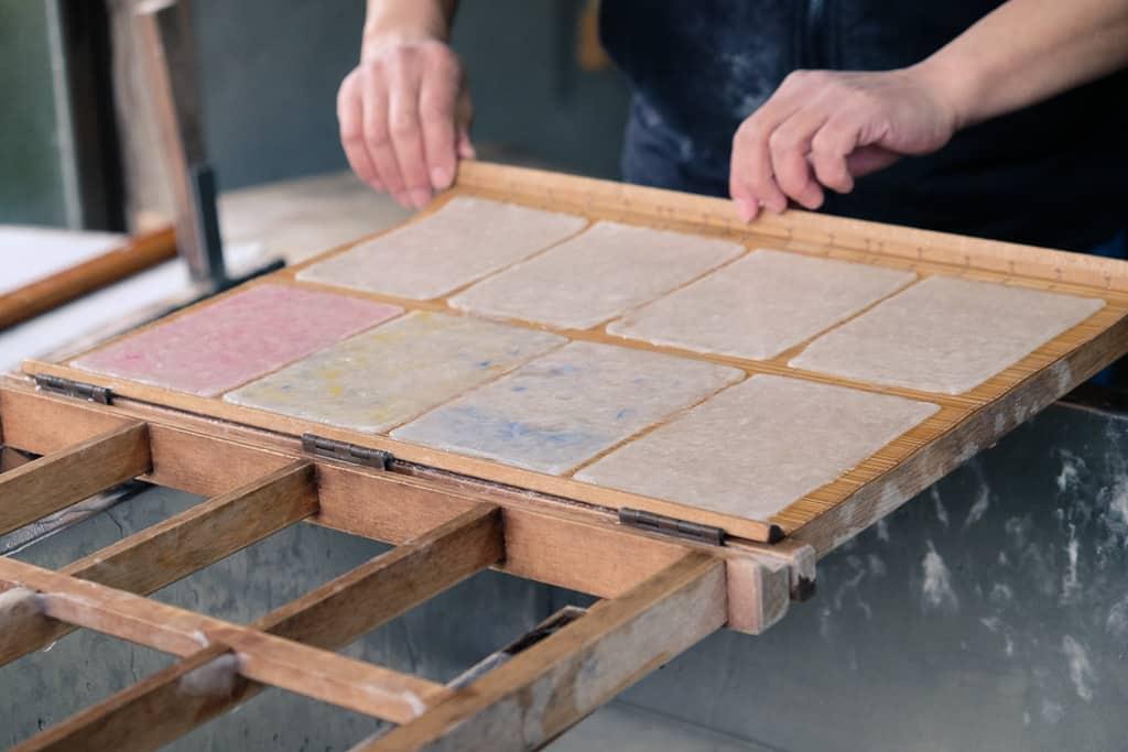 Making Traditional Japanese washi Kurotani paper in Kyoto Prefecture, Japan