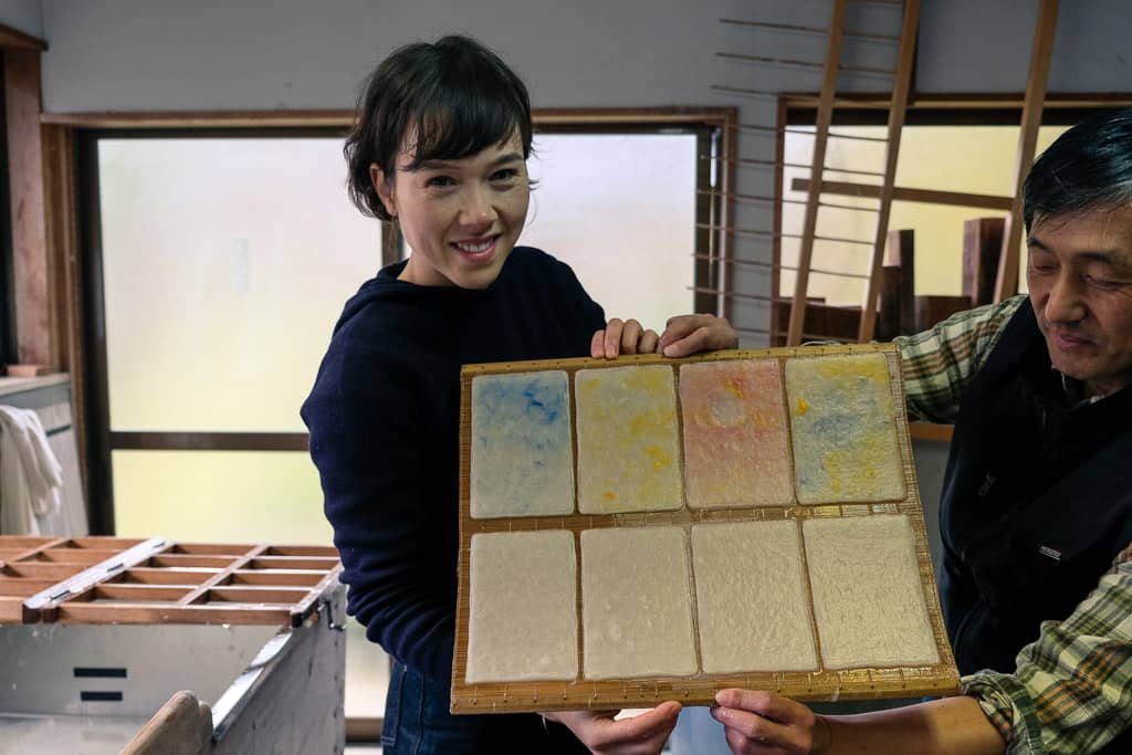 Mika's Kurotani washi paper while visiting workshop in Japan
