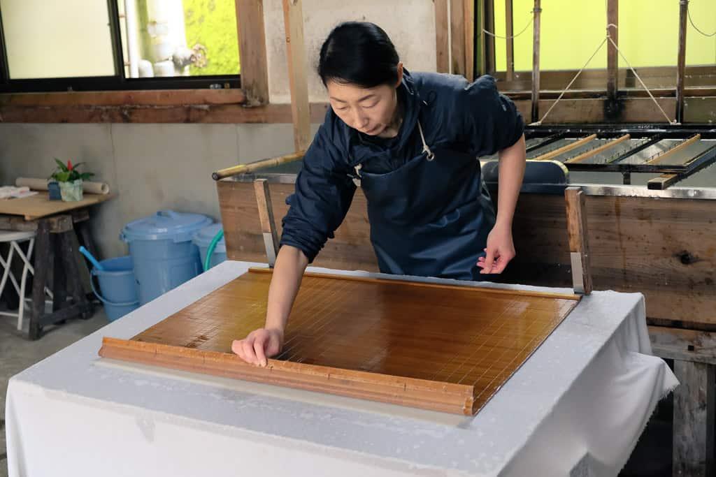 making kurotani washi paper in Kyoto prefecture, Japan
