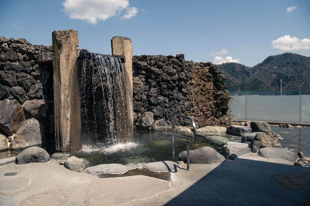 outdoor bath at one of 7 public onsen hot springs in Kinosaki Onsen, Japan