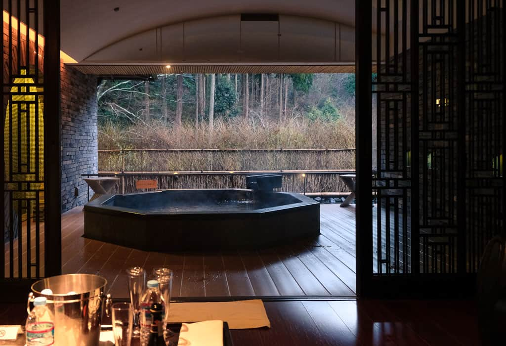 "View from the sitting room in the Chinese-Style ""Rinsen"" onsen spa, Kinosaki Onsen"