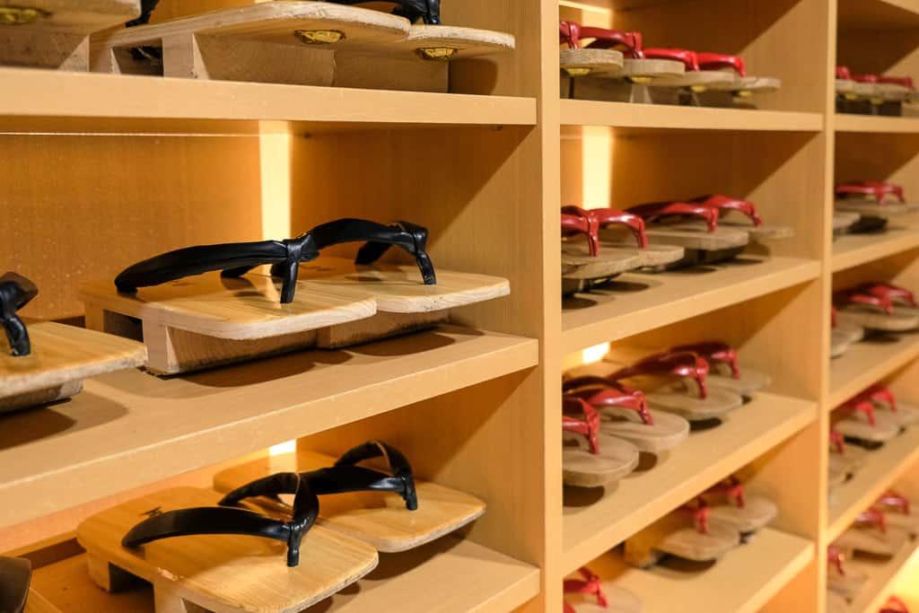 wooden geta sandals at Nishimuraya Hotel Shogetsutei in Kinosaki, Japan